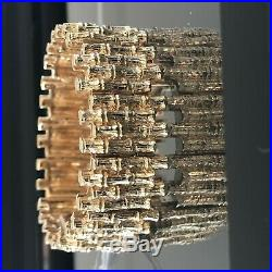 Solid 14k Yellow Gold 7 Inch Heavy Bamboo Link Bracelet 7/8 Inch Wide