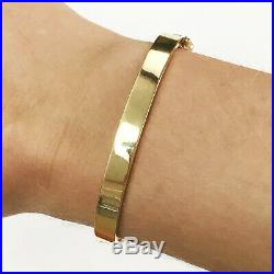 Solid 14k Yellow Gold Classic Oval Bangle Bracelet Wide 6MM 6.5 Inch