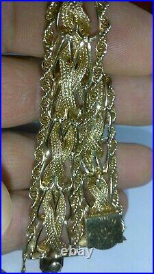 Solid 14k gold unique heavy flexible 15mm wide bracelet 23.87 grams 7 long