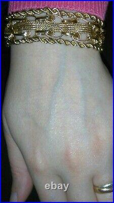 Solid 14k gold unique heavy flexible 18mm wide bracelet 35.1 grams 7.25 long