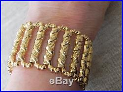 Solid 18k 750 Yellow Gold Wide Link Bracelet Italy 7.25