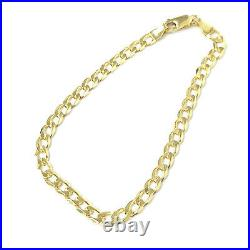 Solid Gold Curb Bracelet 9ct Yellow NEW 4g 7 1/2 Inches 4mm wide Hallmarked