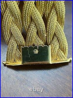 Solid Gold Italian Craftsmanship 18k Wide Weave Heavy Bracelet