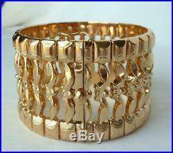 Solid Heavy 18k Gold Itay 1.5 Wide Handmade Cuff Soft Bangle Bracelet67.3gNEW
