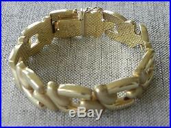 Solid Italian 14k Yellow Gold Wide Link Bracelet