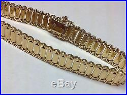 Solid Wide 18k Yellow Gold Designers Bracelet Man's Or Ladies 8 Inches Long