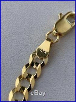 Solid Yellow 10k Gold 5mm Wide Flat Miami Cuban Link Men's Bracelet 8'' 4.5g