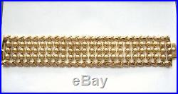 Spectacular Wide Vintage Real 18K Yellow GOLD Bead Bracelet 7.75 long unique
