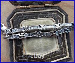 Statement Wide Tennis Engagement Bracelet 14K White Gold Over 5.35 Ct Baguette