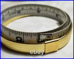 Stefano oro 14k Yellow Gold weave mesh flex Flat wide silicone Bangle bracelet