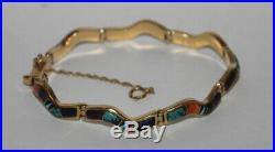 Stunning Calvin Begay Multi Stone Inlay 14K Gold Bracelet Navajo 1/4 Wide 7