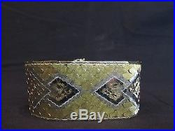 Stunning Vintage 18K Yellow and 14K White Gold Wide Flat Woven Style Bracelet