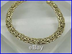 TURKEY 14k Yellow Gold Byzantine Weave Chain Link Woven. 25 Wide Bracelet 6.75
