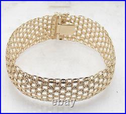 Technibond Bold Wide Diamond Cut Tapestry Bracelet 14K Yellow Gold Clad Silver