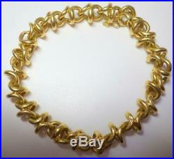 Tiffany & Co. 18K Y Gold Bracelet Wide Round Link 8.5 Safety Clasp 25.029 Grams