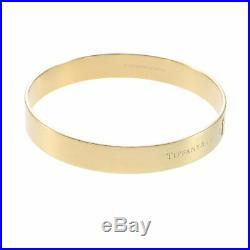 Tiffany & Co. Key Hole Diamond Bangle Bracelet 18k Yellow Gold 9mm Wide wBox