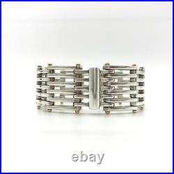 Tiffany & Co. Sterling Silver 18K Yellow Gold Wide Bar Gate Link Bracelet 6.5
