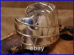 Tiffany & Co Sterling Silver Wide 18K Gold Spider Cuff Bracelet
