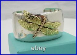 Tiffany & Co Stunning Sterling Silver 18K Gold Dragonfly Wide Cuff Bracelet