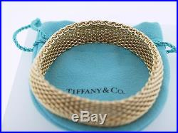 Tiffany and Co 18K Yellow Gold Somerset Wide Mesh Bracelet Stamped 15mm wide