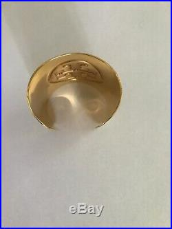 Tory Burch Logo Gold Plated Wide Cuff Bracelet