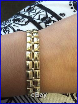 UNIQUE 14K YELLOW GOLD WIDE 10mm VINTAGE LINK BRACELET 14.6 GRAMS