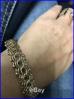 UNIQUE 14K Yellow Gold WIDE 13mm Vintage Charm Link Bracelet 29.5 Grams