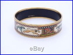 USED Hermes Leashed Dogs Wide Printed Enamel Bracelet GM (70) 1.75 wide 3DIA