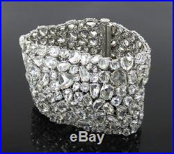 Unique 100.37ct Rose Cut Diamond & 18K White Gold Wide Mesh Bracelet