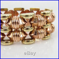Unique 1950s Retro 14K Rose & Yellow Gold Wide Geometric Pyrmid Bracelet