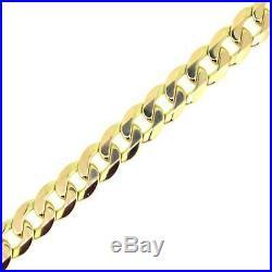 Unisex Hallmarked 9ct Yellow Gold 9mm Wide Curb 8 Bracelet 21.83g