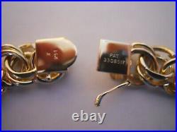 VERY WIDE & HEAVY Vintage 14k Gold DOUBLE LINK CHARM BRACELET 7 In 38.5 G #19096