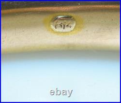 VINTAGE 14K YELLOW GOLD 3 DIAMOND 3/8 WIDE HINGED BANGLE BRACELET. 54 CT. 24 g
