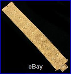 VINTAGE 18K SOLID GOLD 82 GRAMS 32mm WIDE 7 BRACELET