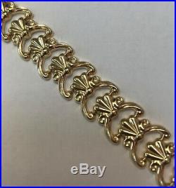 VINTAGE MILOR ITALY YELLOW GOLD 14 K FANCY LINK WIDE BRACELET 7-1/4 & 12.3gr