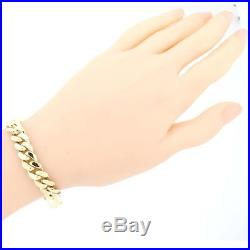 VIP Mens 14k Yellow Gold 9mm Wide Cuban Curb Chain Link Bracelet 61.3g 9inch D8