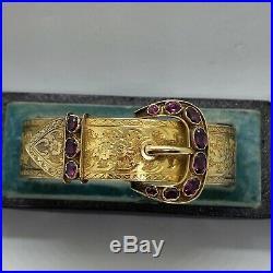 Victorian 15k gold Almandine garnet wide bangle bracelet engraved buckle locket