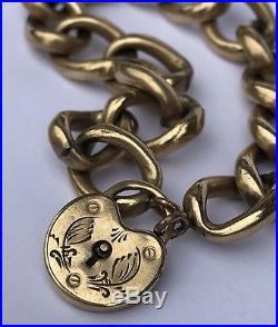 Victorian Gold Filled 12mm Wide Cuban Link Chain PadLock Heart Locket Bracelet
