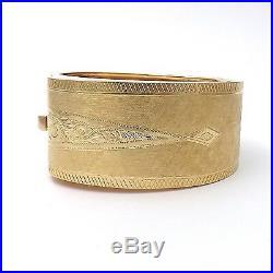 Victorian Solid 14k Gold Hand Engraved Wide Belt Buckle Bangle Bracelet