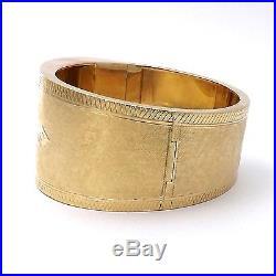 Victorian Solid 14k Yellow Gold Hand Engraved Wide Belt Buckle Bangle Bracelet