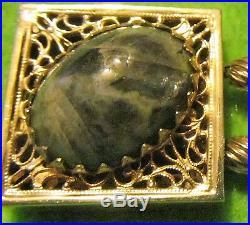 Victorian Vintage Rare Carnelian Jade Onyx Wide Large Gold Sliding Bracelet