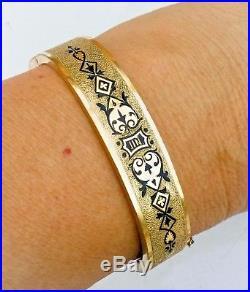 Victorian bracelet Etruscan bangle gold black hinged. Antique vtg wide chunky old