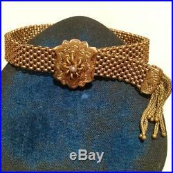 Victorian mesh bracelet w fringe Gold fill Seed pearl adjustable antique wide