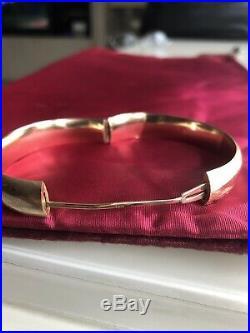 Vintage14K Yellow Gold wide Etched Hinged Bangle Bracelet safety bar 13.6g