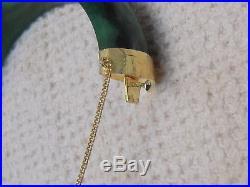 53981e1bef1 Vintage 14KT Yellow Gold Wide Green Jade Hinged Bangle Bracelet ...
