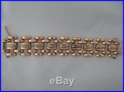 Vintage 14K Rose Gold Wide Bracelet Decorated White Gold 53.2 gr 7.4