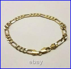 Vintage 14K Yellow Gold, 5mm Wide Figaro Bracelet, 7-1/4 inches long, 5 Grams