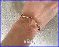 Vintage 14K Yellow Gold Hinged Bangle Bracelet with Ruby Flowers 3.2mm Wide 4.79g
