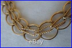 Vintage 14K Yellow Gold Wide Link Bracelet 10.3 grams, 6.75 inch