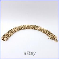 Vintage 14k Gold 1/2 Wide Wheat Mesh Link Heavy Charm 7.5 Bracelet 45 grams